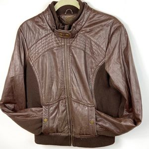 Anthropologie Retro Leather Brown Bomber Jacket L